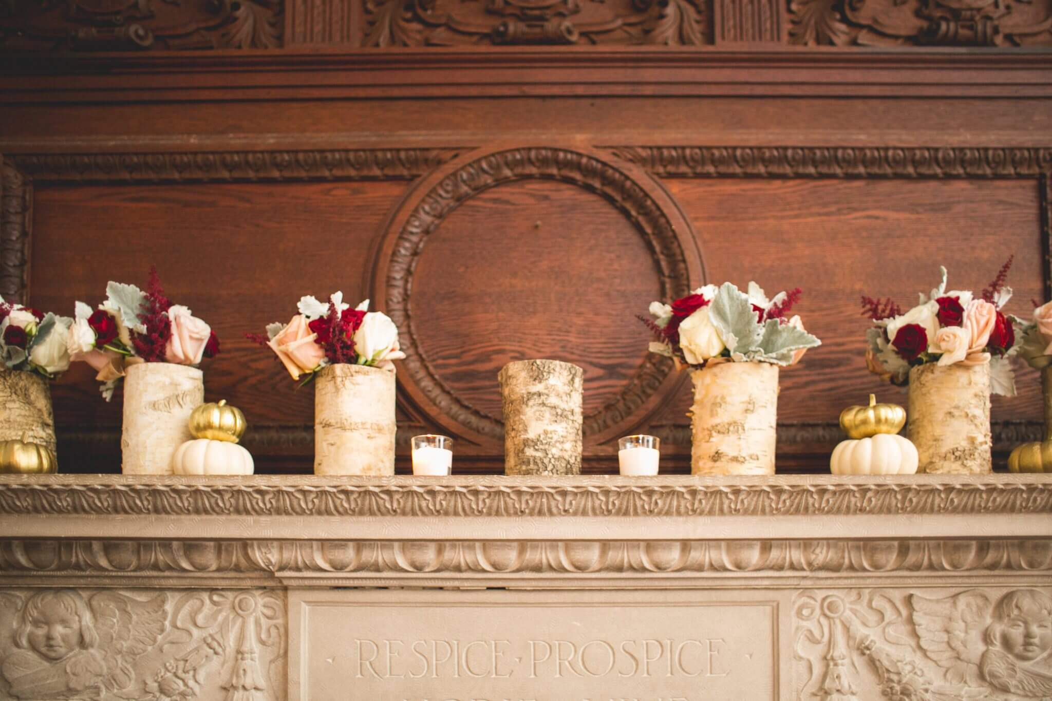 Historic mansion wedding mantle décor with birch tree floral displays at Willowdale Estate in Topsfield, MA www.willowdaleestate.com