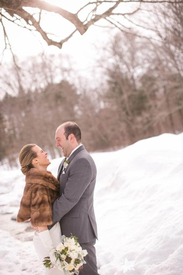 First look, bride wearing fur shawl at Willowdale Estate in Topsfield, MA www.willowdaleestate.com