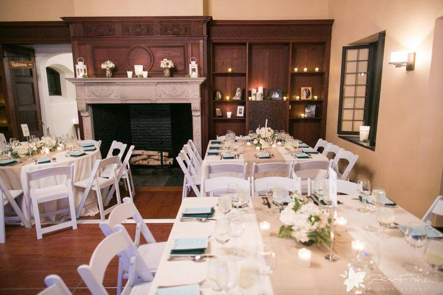 Great room wedding reception with mantle and built-in shelving at Willowdale Estate in Topsfield, MA www.willowdaleestate.com